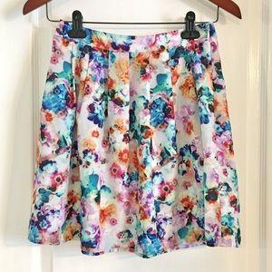 Hinge Watercolor Floral Design Skirt
